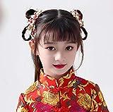 Stile antico ornamenti per capelli con bordi sfrangiati super fata spettacolo per bambini Wo abbigliamento costume copricapo ragazze Hanfu rosso doppia clip per abbigliamento Capodanno