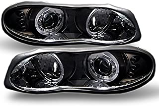 For Chevy Camaro Sport Coupe Black Bezel Dual CCFL Halo Ring Design Projector Headlights Front Lamps