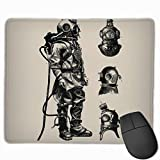 25x30cm Gaming Mouse Pad Funny Design Vintage Deep Sea Diver Nautical Desk Pad for Office Game Non-Slip Rubber Mousepad with Stitched Edge Waterproof
