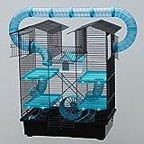 XXL पालतू केन्द्र सुपर हम्स्टर पिंजरा, कृन्तक पिंजरा, माउस पिंजरा, हम्सटर महल केज CH2 Plus ब्लू फ्रि फूड बाउल ...