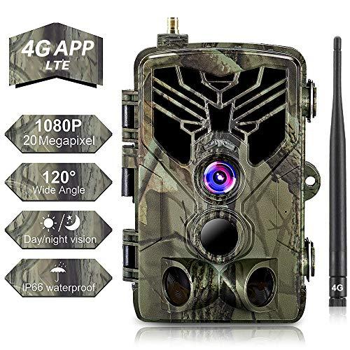 SUNTEKCAM 4G APP Wildkamera Mit Bewegungsmelder Nachtsicht HandyüBertragung& App 20MP 1080P Full HD Wildtierkamera mit 44 IR-LEDs Überwachungskamera Mit IP66 Wasserdicht Jagdkamera mit 32G Karte