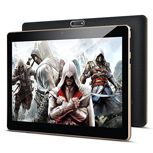 Tablet 10 Zoll Android 8.0, Padgene Android Tablet PC 10,1 Zoll Quad Core IPS HD Pad mit 2G RAM 32G Speicher Dual SIM Slots Dual Kamera WiFi/3G Entsperrt Bluetooth 4,0 GPS Telefonfunktion(Schwarz)