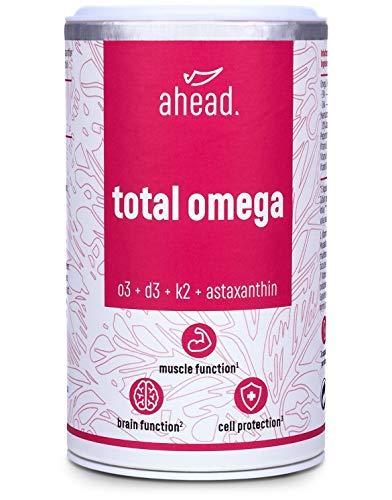 ahead TOTAL OMEGA   Omega 3 Fischöl Kapseln hochdosiert   2250mg pro Tagesdosis mit Vitamin D3 + K2 + Astaxanthin + Pfefferminzöl   90 Kapseln   Frei von Schadstoffen   Hergestellt in Deutschland