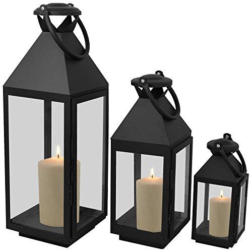Wohaga 3er Set Laternen mit Henkel H55,5/40/25cm aus Metall/Glas Laternen Windlichter Gartendekoration Schwarz