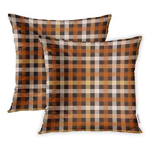 okstore1988 Juego de 1 funda de cojín decorativa de 45,7 x 45,7 cm, diseño de cuadros abstractos en color marrón y naranja negro brillante británico, funda de almohada con impresión por un lado