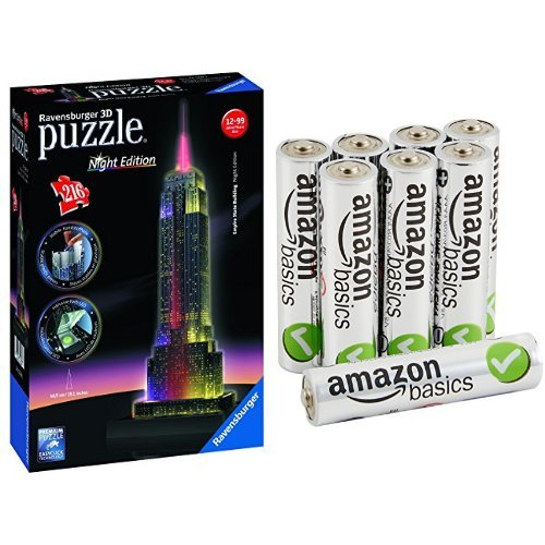 Pack Puzzle 3D - Empire State Building + 8 Piles AmazonBasics AAA