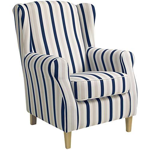 Max Winzer® Ohrensessel Lorris, blau, Flachgewebe, Retro, romantisch, Landhaus, 77 x 86 x 103 cm