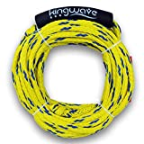 Kingwave Tube Tow Rope, 2,375 Pounds Breaking Strength Braided Tube Tow Cord, 1-2 Rider Ropes for for Water Skiing, Wakeboarding, and Towsports
