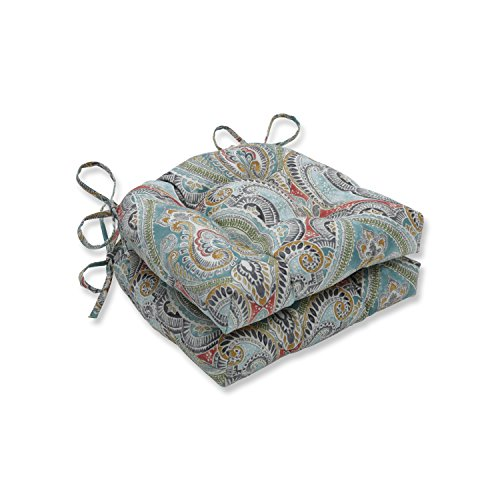 Pillow Perfect Outdoor | Indoor Pretty Witty Reef Reversible Chair Pad (Set of 2), Blue 16 X 15.5 X 4