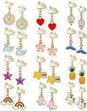MJARTORIA 12 par söta clipsörhängen set örhänge tecknad blomma ananas häst smycken accessoarer för flickor barn prinsessa klänning födelsedagspresenter fest