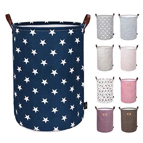 DOKEHOM DKA0822BSL Verdickte Faltbare Runde Lagerung Wäschekörbe, Baumwolle (Blau Star, 19