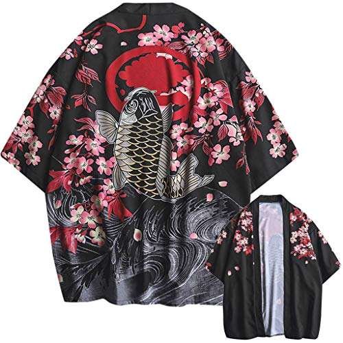 Lazzboy Uomo Unisex Lovers Character Stampa Top Camicetta Kimono Hot Spring Spa Cover-up Beach Shrug(XL,Nero-Pesce)