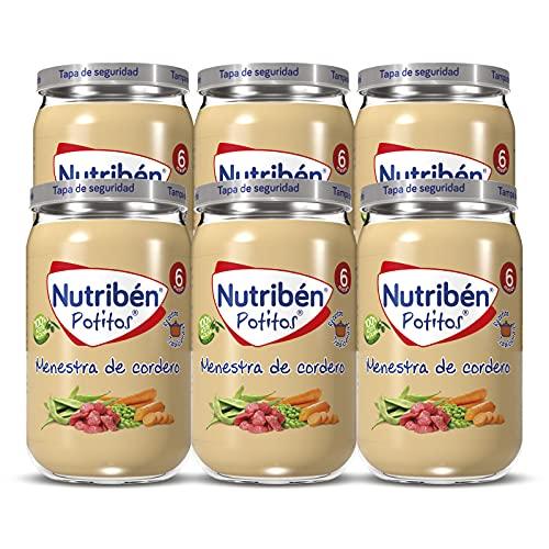 Nutribén Potitos De Menestra De Cordero, Desde los 6 Meses, Pack 6 x 235gr