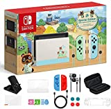 Newest Nintendo Switch Animal Crossing: New Horizons Edition 32GB Console, Green and Blue Joy-Con, 6.2' Touchscreen LCD Display, WiFi, Bluetooth, Bundle with TSBEAU 9-in-1 Carrying Case Accessories