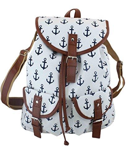 Sonia Originelli Rucksack Maritim Anker Bagpack Bag Tasche Beach T017 (Weiß)