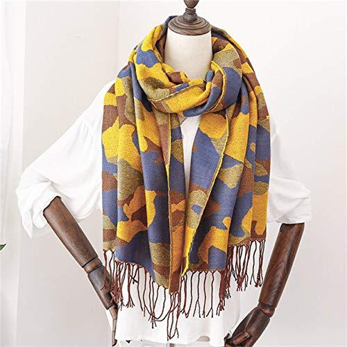 XSHOMW Schal Armee-Grün-Tarnung-Schal für Frauen-Poncho-Winter-weibliches Hijab-Schal-Leopard-warme Schals 187-70cm Gelb