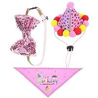 ibasenice 犬の誕生日の帽子バンダナ蝶ネクタイセット三角形のよだれかけスカーフコーン帽子弓の首輪犬の誕生日パーティー用品犬の子犬
