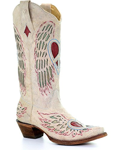 CORRAL Women's White Angel Wing Peace Heart Cowgirl Boot Snip Toe White 7.5 M