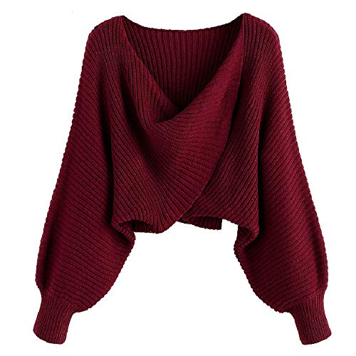 【Material】: Acrylic, Cotton, high-quality, skin-friendly, soft and breathable material, our sweaters for women are perfect for layering. 【Design】: Colorblock design, Deep V-neck with twist style, Loose fit, Plunging Collar, long sleeves, this v neck ...