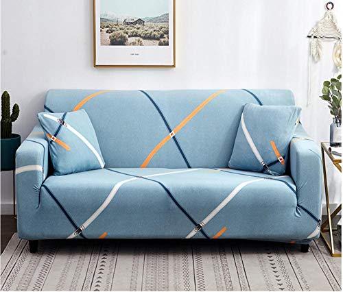 JNBGYAPS Impresión Funda para Sofá en Forma de L Azul Protector a Prueba de Polvo para Sofá Esquinero Estiramiento Sofá Cubiertas de Poliéster (4 plazas)
