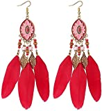 Pendientes de Borla Vintage Pendientes Largos de Plumas Hechas a Mano Bohemian National Wind Drop Oil Geometric Ear Jewelry, ZJ, rojo
