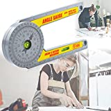 Miter Saw Protractor, Digital Angle Finder with High Precision Rectangular Horizontal Bubble Level, Miter Gauge, Right Angle Ruler, Caliper Measuring Tool for Miter Angle on Carpentry (0-7 Inch/mm)