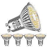EACLL Bombillas LED GU10 Regulable 2700K Blanco Cálido 6W Fuente de Luz 475 Lúmenes equivalente 50W Halógena. AC 230V Sin Parpadeo Focos, 120° Atenuación Continua PAR16 Reflectoras Lámparas, 4 Pack