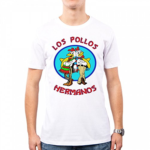 PacDesign T-Shirt Uomo Breaking Bad Los Pollos Hermanos Pd0000a, M, White