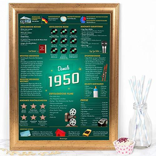 Das Original Damals 1950 Poster Deutschland (40x59.4cm Ungerahmt) Elegante Posterröhre 70. Geburtstag Geschenk 70-Jähriges Jubiläum Deko für Männer Frau Oma Opa Mama Papa (Damals 1950 - 70 Jahre)
