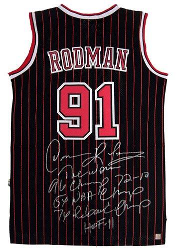Dennis Rodman Signed Official NBA Adidas Chicago Bulls Black Pinstripe Jersey w/ 5 Inscriptions