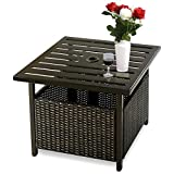 COSTWAY Rattan Patio Wicker Bistro Dining Tables Square Umbrella Table with Storage Space, Outdoor Stand Garden Leisure Coffee Table W/Umbrella Hole, 56x56x46CM
