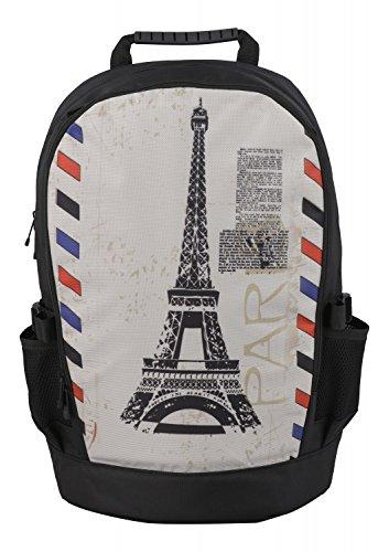 Rucksack für Jungen Mädchen Damen Herren Kinder - Schulrucksack Schulranzen, Ranzen für die Schule - Backpack für die Stadt/zum Sport für Kinder & Jugendliche - Cooles Design - Paris Stamp