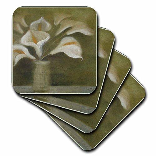 3dRose CST_49391_4 Callas in Vase Calla, Calla Lilies, Calla Lily, Callas, Easter Lily, Floral, Flower Ceramic Tile Coasters, Set of 8