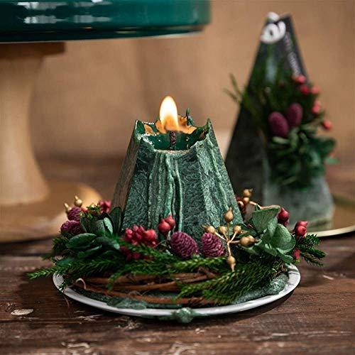 2pcs New Nordic Geometric Cone Duft Pyramidenform Kerze Weihnachtsbaum Ewige Blumenkerze Einfache Hochzeit Home Decoration-Kerzen
