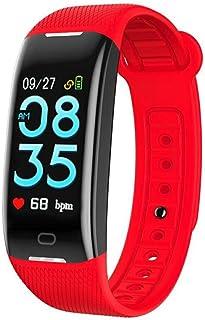 AIFB Pulsera Inteligente Impermeable Pantalla táctil, Pulsómetros Monitor de sueño Podómetro Contador de calorias Fitness Tracker Alarma recordatorio sedentario para Android iOS Phone,Red-OneSize
