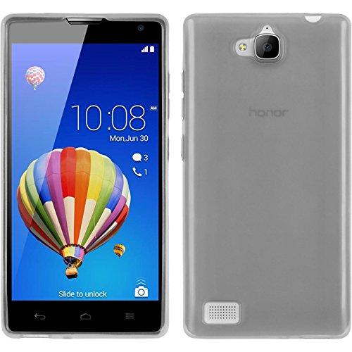 PhoneNatic Hülle kompatibel mit Huawei Honor 3C - weiß Silikon Hülle transparent + 2 Schutzfolien