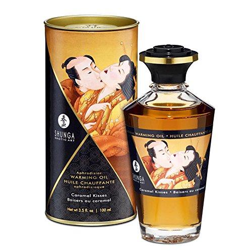 Aceite de Masaje Afrodisíaco Efecto Calor Besos de Caramelo 100 ml. - Shunga - Juego para tus sentidos: estimula tu tacto, tu gusto y tu olfato!