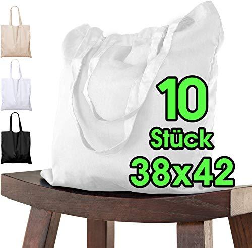 Baumwolltaschen weiss Stofftasche (10 Stück in 38x42) - Das ORIGINAL von ELES VIDA® - ÖKO-TEX® geprüfte QUALITÄTSWARE, Lange Henkel, Tragetasche, Jutebeutel, Stoffbeutel, Einkaufstasche 100% Baumwolle