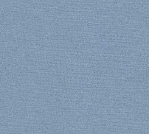 A.S. Création Vliestapete Linen Style Tapete Uni 10,05 m x 0,53 m blau Made in Germany 367614 36761-4