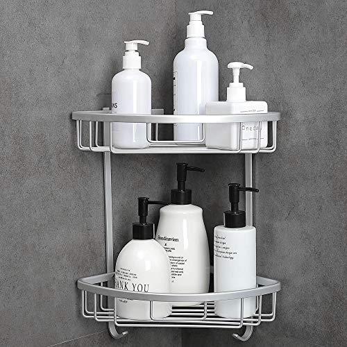 Hoomtaook Corner Shelf Bathroom Organizer Storage Kitchen Rack with Traceless Transparent Adhesive No Drilling Cornner Caddies Shower 2-tier Shelves