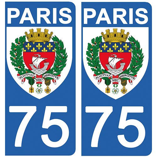 DECO-IDEES 2 Stickers pour Plaque d'immatriculation - 75 - Blason Paris- Stickers Garanti 5 Ans