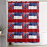 Hodmes Mississippi State Flag Shower Curtain 59x71 in Waterproof Fabric Shower Curtain for Bathroom