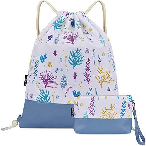 LIVACASA Mochila con cordón/Maquillaje Mochila, Mochila de Cuerdas Niños Bolsos de Embrague Costuras PU Estampado Florales Azul Flores