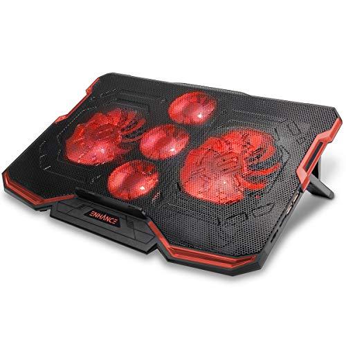 ENHANCE Cryogen Base de Refrigeración Gaming para Portátiles con 5 Ventiladores Silenciosos, Ángulos Ajustables, 2 Puertos USB - Se Adapta a Laptops de hasta 43.2 cm - Iluminación LED Rojo