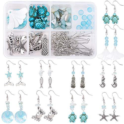 SUNNYCLUE 1 Box DIY 10 Pair Starfish Crab Mermaid Turquoise Earring Making Kit Jewelry Making Supplies Beading Starter Kits for Beginner Adults, Ocean Beach Theme, Instruction