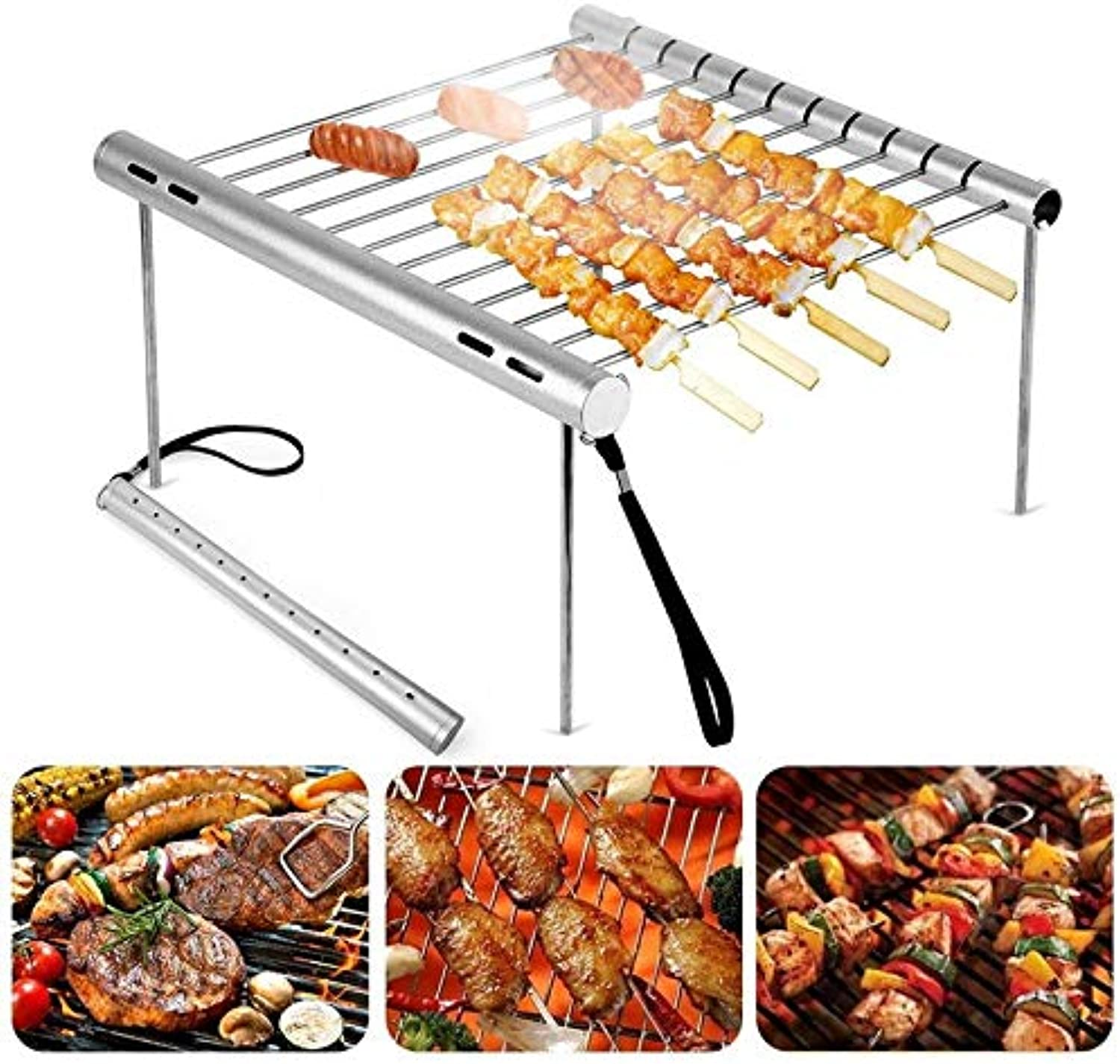 Wultia  Portable Folding Stainless Steel Barbecue Grilling Basket Clip for Fish Meat Vegetables Foods BBQ Grill Tool Accessories