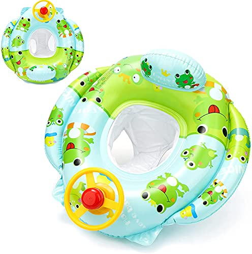 Shengruili Baby Schwimmring,Aufblasbarer Schwimmreifen,Baby Schwimmring mit Sonnenschutz,Baby Float,Aufblasbarera Byschwimmen,Baby Schwimmtrainer,Schwimmhilfe Spielzeug,Schwimmring Aufblasbarer
