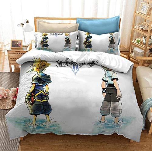 King's Heart Juego de rol Juego de cama con funda nórdica para adultos y jóvenes en 3D para niños, cama individual, cama doble, ropa de cama con funda de edredón suave y cómoda-I_210x210cm (3pcs)