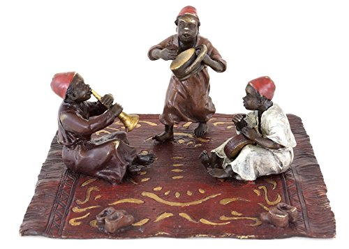 Kunst & Ambiente - Wiener Bronze - Musizierende Mohren - Arabische Teppich Bronze - handbemalte Bronzefigur - Orientalische Figur - authentische Kinderfigur - Araberbronze