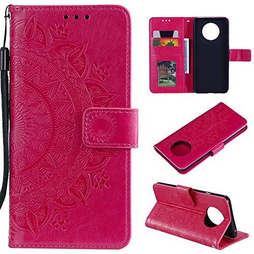 LODROC OnePlus 7T Hülle, TPU Lederhülle Magnetische Schutzhülle [Kartenfach] [Standfunktion], Stoßfeste Tasche Kompatibel für OnePlus 7T - LOHH0501419 Rot